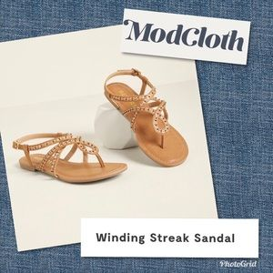 ModCloth 'Report' Tan Buckle Flat Sandals Size 9